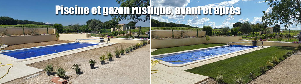 Piscine et gazon rustique, avant et après